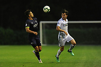 Monday 20th August 2018<br /> Pictured: Derby County's Kellan Gordon vies for possession with Swansea City's Liam Cullen<br /> Re: Swansea City U23 v Derby County U23 Premier League 2 match at the Landore Training facility, Swansea, Wales, UK