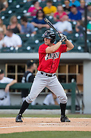 John Bowker (19) of the Indianapolis Indians at bat against the Charlotte Knights at BB&T BallPark on June 20, 2015 in Charlotte, North Carolina.  The Knights defeated the Indians 6-5 in 12 innings.  (Brian Westerholt/Four Seam Images)