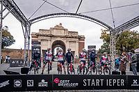 Team Trek-Segafredo presentation at the start under/in front of the Menin Gate War Memorial<br /> <br /> 82nd Gent-Wevelgem in Flanders Fields 2020 (1.UWT)<br /> 1 day race from Ieper to Wevelgem (232km)<br /> <br /> ©kramon