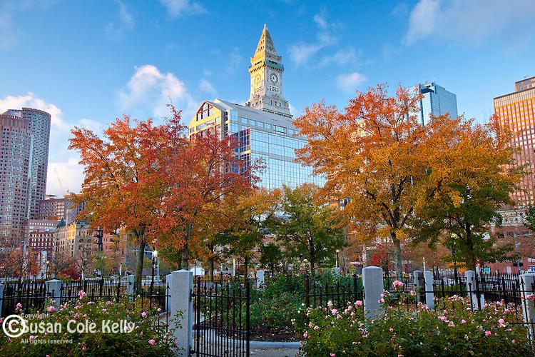 The Boston skyline and Christopher Columbus Waterfront Park, Boston, MA