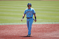 Robbie Petracci (6) of the Old Dominion Monarchs takes his lead off of second base against the Charlotte 49ers at Hayes Stadium on April 25, 2021 in Charlotte, North Carolina. (Brian Westerholt/Four Seam Images)