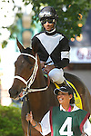 July 5, 2014: Delaware Oaks contender Joint Return, Kendrick Carmouche up, owned by Main Line Racing Stable and trained by John Servis, walks in the paddock before the race. Fortune Pearl, trained by Graham Motion and ridden by Trevor McCarthy, wins the Grade II Delaware Oalks at Delaware Park in Stanton Delaware. She is owned by Lawrence Stable Inc.  ©Joan Fairman Kanes/ESW/CSM