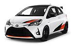 2018 Toyota Yaris GRMN 3 Door Hatchback angular front stock photos of front three quarter view
