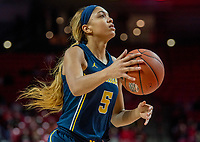 COLLEGE PARK, MD - DECEMBER 28: Kayla Robbins #5 of Michigan on the attack. during a game between University of Michigan and University of Maryland at Xfinity Center on December 28, 2019 in College Park, Maryland.