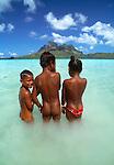 Tahitian children, Bora Bora