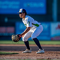 29 August 2019: Vermont Lake Monsters first baseman Dustin Harris in action during a game against the Connecticut Tigers at Centennial Field in Burlington, Vermont. The Lake Monsters fell to the Tigers 6-2 in the first game of their NY Penn League double-header.  Mandatory Credit: Ed Wolfstein Photo *** RAW (NEF) Image File Available ***