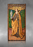 Gothic Aaltarpiece of Saint Barbara, 3rd quarter of the 15th century, tempera and gold leaf on for wood.  National Museum of Catalan Art, Barcelona, Spain, inv no: MNAC   114746-7. Against a grey art background.