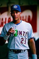 Jose Cruz,jr. of the Toronto Blue Jays plays in a baseball game at Edison International Field during the 1998 season in Anaheim, California. (Larry Goren/Four Seam Images)