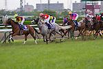 June 29,2014:Gold Ship,ridden by Norihiro Yokoyama(grey horse),wins the Takarazuka Kinen at Hanshin in Hyogo,Japan. Kazushi Ishida/ESW/CSM