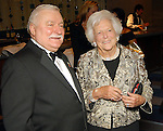 First Lady Barbara Bush chats with Lech Walesa at the Leading Hearts Gala VIP Reception at the Skyline Ballroom at the Hilton Americas downtown Saturday Oct. 24,2009. (Dave Rossman/For the Chronicle)