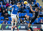 St Johnstone v Dundee…25.08.18…   McDiarmid Park     SPFL<br />Blair Alston and Steven Caulker<br />Picture by Graeme Hart. <br />Copyright Perthshire Picture Agency<br />Tel: 01738 623350  Mobile: 07990 594431