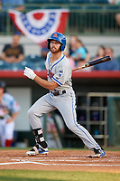 St. Lucie Mets left fielder Gene Cone (9) follows through on a swing during a game against the Florida Fire Frogs on April 19, 2018 at Osceola County Stadium in Kissimmee, Florida.  St. Lucie defeated Florida 3-2.  (Mike Janes/Four Seam Images)