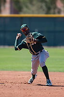 Oakland Athletics shortstop Marcos Brito (5) during a Minor League Spring Training game against the Chicago Cubs at Sloan Park on March 19, 2018 in Mesa, Arizona. (Zachary Lucy/Four Seam Images)
