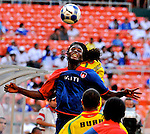 08 July 09: Haiti's Fabrice Noel goes for a header during their match with Grenada at the CONCACAF Gold Cup at RFK Stadium in Washington, DC.