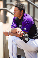Jacob May (1) of the Winston-Salem Dash watches the action from the dugout during the game against the Myrtle Beach Pelicans at BB&T Ballpark on May 7, 2014 in Winston-Salem, North Carolina.  The Pelicans defeated the Dash 5-4 in 11 innings.  (Brian Westerholt/Four Seam Images)