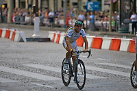 HTC Columbia team sprinter, Mark Cavendish, completes a victory lap of the Champs Elysees after his blistering sprint and stage win during the final stage of the Tour de France 2010
