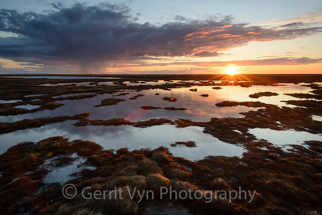 Sunset over the wetlands. Yukon Delta National Wildlife Refuge, Alaska. June.