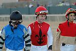 Jockey's Calvin Borel, Robby Albarado & Ramon Vazquez before the running of the Southwest Stakes (Grade III) at Oaklawn Park in Hot Springs, Arkansas on February 17, 2014. (Credit Image: © Justin Manning/Eclipse/ZUMAPRESS.com)