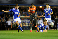 Swansea City's Joel Asoro has his shot blocked by Birmingham City's Michael Morrison during the Sky Bet Championship match between Birmingham City and Swansea City at St Andrew's Trillion Trophy Stadium on August 17, 2018 in Birmingham, England.
