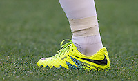 Pedro of Chelsea personalised boot during the Barclays Premier League match between Chelsea and West Ham United at Stamford Bridge, London, England on 15 August 2016. Photo by Andy Rowland.