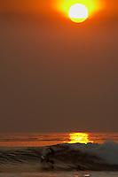 Surfing at Windansea, La Jolla , San Diego , California. Sunset silhouette.   October 2003 , pic copyright Steve Behr / Stockfile