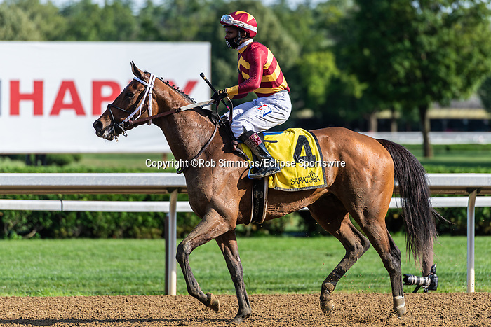 August 12, 2020: Thoughtfully #4, ridden by Ricardo Satana Jr., wins the Adirondack S at Saratoga Race Course in Saratoga Springs, New York. Rob Simmons/Eclipse Sportswire/CSM