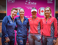 Den Bosch, The Netherlands, Februari 8, 2019,  Maaspoort , FedCup  Netherlands - Canada, Draw, dubbles match on sunday Demi Schuurs and Bibiane Schoofs NED (L) vs Bianca Andreescu and Gabriela Dabrowski (CAN)<br /> Photo: Tennisimages/Henk Koster