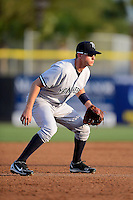 Tampa Yankees third baseman Carmen Angelini #11 during a game against the Dunedin Blue Jays on April 11, 2013 at Florida Auto Exchange Stadium in Dunedin, Florida.  Dunedin defeated Tampa 3-2 in 11 innings.  (Mike Janes/Four Seam Images)
