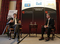 Montreal, CANADA February 24, 2015 -<br /> <br /> Charles Guay, Executive Vice President, Institutional Markets - Manulife Canada and President & CEO , Manulife Quebec (L)  and Claudio Fernandez-Araoz, Senior Adviser at Egon Zehnder  (R) <br /> speak  at the Canadian Club of Montreal, February 23, 2015.<br /> <br /> Photo : Agence Quebec Presse - Pierre Roussel