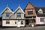United Kingdom, England, Suffolk, Lavenham: Timber framed medieval cottages and the Crooked House Gallery in the medieval village of Lavenham.