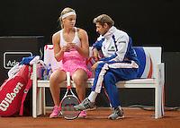 Februari 08, 2015, Apeldoorn, Omnisport, Fed Cup, Netherlands-Slovakia,   Anna Karolína Schmiedlová (SLO)on the bench<br /> Photo: Tennisimages/Henk Koster