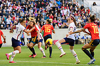 HARRISON, NJ - MARCH 08: Rose Lavelle #16 of the United States goes for a ball as Carli Lloyd #10 watches during a game between Spain and USWNT at Red Bull Arena on March 08, 2020 in Harrison, New Jersey.