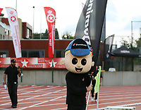 Mascot of the Domino Pizzas, sponsor of Woluwe entering the pitch at the start of a female soccer game between FC Femina White Star Woluwe and Club Brugge YLA on the second matchday in the 2021 - 2022 season of Belgian Scooore Womens Super League , Friday 27 th of August 2021  in Woluwe , Belgium . PHOTO SPORTPIX | SEVIL OKTEM