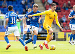 St Johnstone v Livingston….10.08.19      McDiarmid Park     SPFL <br />Lyndon Dykes is tracked by Jason Kerr<br />Picture by Graeme Hart. <br />Copyright Perthshire Picture Agency<br />Tel: 01738 623350  Mobile: 07990 594431