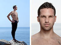 """Frédéric Sessa, freediver, poses for the photographer at the A.I.D.A. Freediving World Championships, Villefranche-sur-Mer, France, 11 September 2012. <br /> <br /> He has been the French  champion in dynamic apnea (distance) since 2009; his current record is 255 m, swum on a single breath. <br /> <br /> Frédéric was born and lives in Sète, a small coastal town in the South of France. Frédéric's grandfather was the only member of his family to dive. A great fisherman, he regularly caught sea bream and other local fish with his harpoon, and brought them back for dinner. He had been an important figure in Frédéric's life and, when he died, 12-year old Frédéric decided to start underwater fishing himself. He set out with his best friend to learn to catch fish, diving and holding his breath, as his grandpa had. But sea bream are timid, nervous fish, and catching them with a harpoon requires patience. Eventually, Frédéric signed up to a freediving club to find out how to improve his breath-holding skills.<br /> <br /> """"I see my grandfather in the water, rather than up above, in the sky. I feel close to him when I dive""""<br /> <br /> """"Being underwater is an escape from everyday life. If something is bothering me, or if I feel down or irritable, I just go into the water and leave everything behind. I am alone, and there is no noise, no-one talking to me. I get my zest for life back."""""""