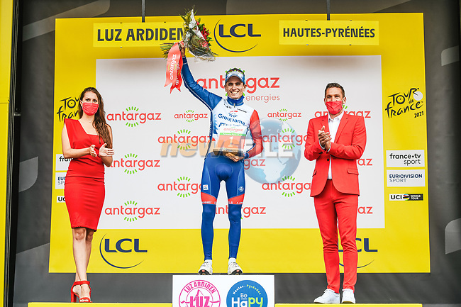 David Gaudu (FRA) Groupama-FDJ wins the day's combativity prize at the end of Stage 18 of the 2021 Tour de France, running 129.7km from Pau to Luz Ardiden, France. 15th July 2021.  <br /> Picture: A.S.O./Charly Lopez   Cyclefile<br /> <br /> All photos usage must carry mandatory copyright credit (© Cyclefile   A.S.O./Charly Lopez)