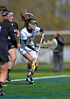 28 April 2012: University of Vermont Catamount attacker Allison Pfohl, a Senior from Niskayuna, NY, in action against the University at Albany Great Dames at Virtue Field in Burlington, Vermont. The Lady Danes defeated the Lady Cats 12-10 in America East Women's Lacrosse. Mandatory Credit: Ed Wolfstein Photo