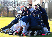 WASHINGTON, DC - NOVEMBER 25, 2012: Players of Georgetown University celebrate their victory over Syracuse University during an NCAA championship round of sixteen match at North Kehoe field, in Georgetown, Washington DC on November 25.