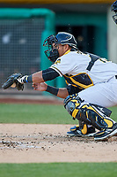Carlos Perez (19) of the Salt Lake Bees on defense against the El Paso Chihuahuas in Pacific Coast League action at Smith's Ballpark on May 1, 2017 in Salt Lake City, Utah. Salt Lake defeated El Paso 9-4. (Stephen Smith/Four Seam Images)