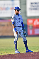 Burlington Royals shortstop Maikel Garcia (2) blows a bubble during game one of the Appalachian League Championship Series against the Johnson City Cardinals at TVA Credit Union Ballpark on September 2, 2019 in Johnson City, Tennessee. The Royals defeated the Cardinals 9-2 to take the series lead 1-0. (Tony Farlow/Four Seam Images)
