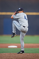 West Michigan Whitecaps relief pitcher Will Vest (4) delivers a pitch during a game against the Quad Cities River Bandits on July 22, 2018 at Modern Woodmen Park in Davenport, Iowa.  West Michigan defeated Quad Cities 6-4.  (Mike Janes/Four Seam Images)