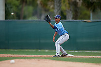 Tampa Bay Rays Kaleo Johnson (83) stretches for a throw during a Minor League Spring Training game against the Baltimore Orioles on March 16, 2019 at the Buck O'Neil Baseball Complex in Sarasota, Florida.  (Mike Janes/Four Seam Images)