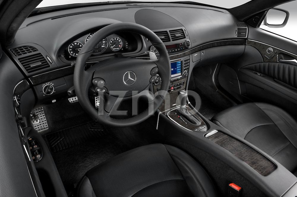 High angle dashboard view of a 2008 Mercedes E63 Sedan