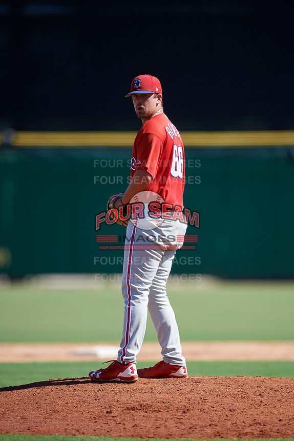 Philadelphia Phillies pitcher Blake Bennett (66) gets ready to deliver a pitch during a Florida Instructional League game against the New York Yankees on October 12, 2018 at Spectrum Field in Clearwater, Florida.  (Mike Janes/Four Seam Images)