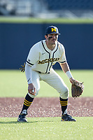 Michigan Wolverines third baseman Christian Molfetta (14) on defense against the Michigan State Spartans on March 21, 2021 in NCAA baseball action at Ray Fisher Stadium in Ann Arbor, Michigan. Michigan scored 8 runs in the bottom of the ninth inning to defeat the Spartans 8-7. (Andrew Woolley/Four Seam Images)