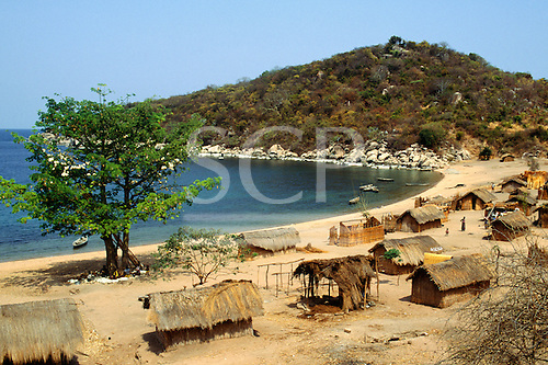 Kipili, Tanzania. The village on the shores of Lake Tanganyika with reed and thatch houses.