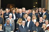 Jack LANG - Jacques TOUBON - Carla BRUNI-SARKOZY - Daniel LAUCLAIR - ObsËques de MIREILLE DARC en l'Èglise Saint-Sulpice - 01/09/2017 - Paris, France