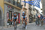 Romain Bardet (FRA) and AG2R La Mondiale riders make their way to sign on before Stage 2 of the Route d'Occitanie 2020, running 174.5km from Carcassone to Cap Découverte, France. 2nd August 2020. <br /> Picture: Colin Flockton | Cyclefile<br /> <br /> All photos usage must carry mandatory copyright credit (© Cyclefile | Colin Flockton)