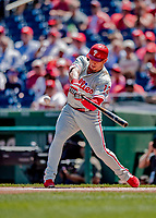 23 August 2018: Philadelphia Phillies infielder Asdrubal Cabrera in action against the Washington Nationals at Nationals Park in Washington, DC. The Phillies shut out the Nationals 2-0 to take the 3rd game of their 3-game mid-week divisional series. Mandatory Credit: Ed Wolfstein Photo *** RAW (NEF) Image File Available ***
