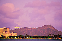 Moon rising behind Diamond Head, viewed from Waikiki